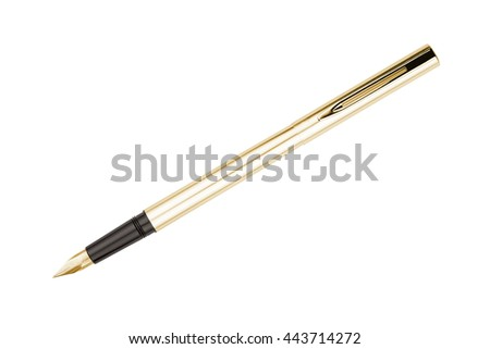 Golden color fountain pen isolated on white  - stock photo