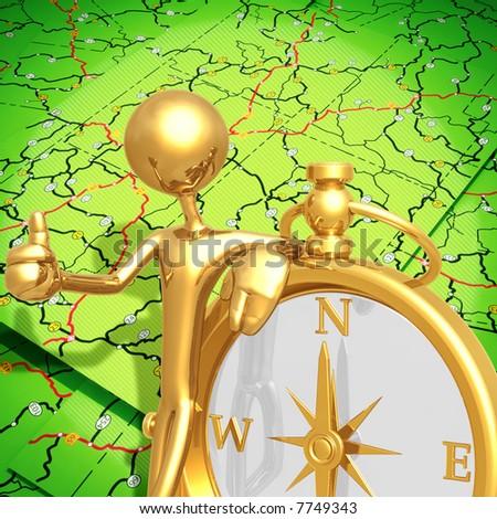 Golden Compass - stock photo