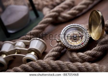 Golden Compass, Globe and navigation equipment - stock photo