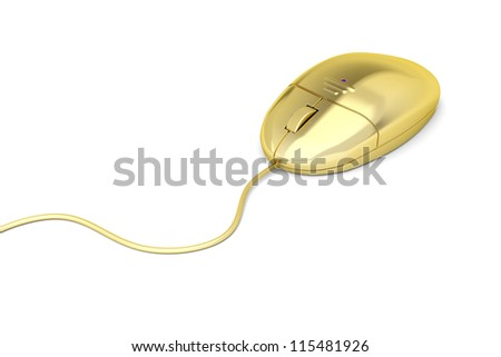Golden computer mouse on white - stock photo