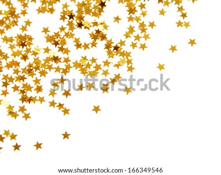 Golden confetti - stock photo