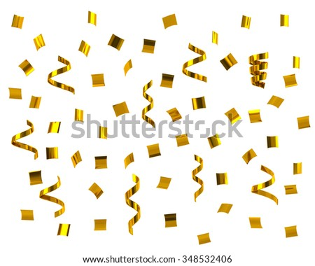 Golden confetti on white background - stock photo