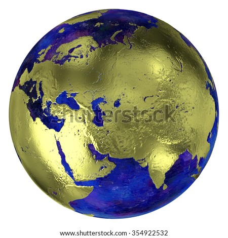 Golden continent Eurasia and Arabian Peninsula on a globe with dark blue oceans, 3d render. - stock photo