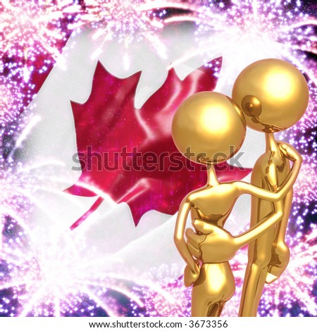 Golden Couple Watching Canada Day Fireworks Display - stock photo