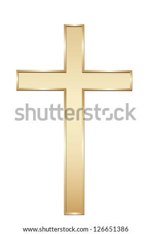 Golden cross. - stock photo