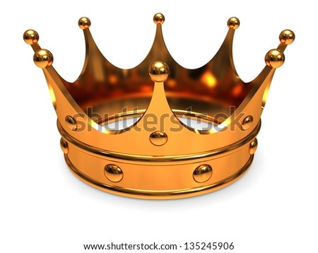 Golden crown, close-up on a white background. - stock photo