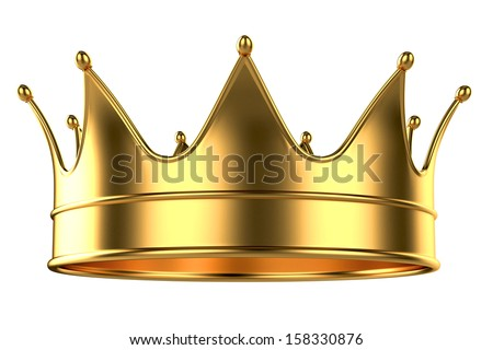 Golden Crown isolated on White Background - stock photo