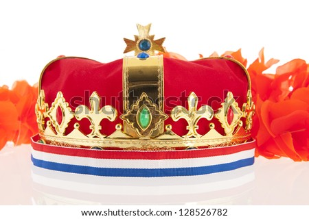 Golden crown with Dutch colors as orange, red white and blue - stock photo