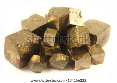 golden cubes - stock photo