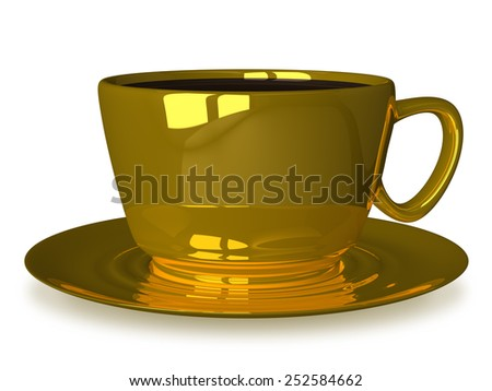 Golden cup of coffee or tea on saucer isolated on white - stock photo