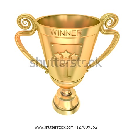 Golden cup of the winner. - stock photo