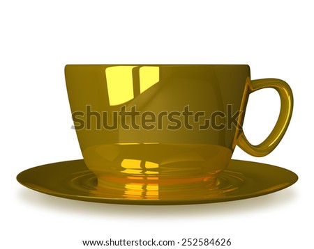Golden cup on saucer isolated on white, front view - stock photo