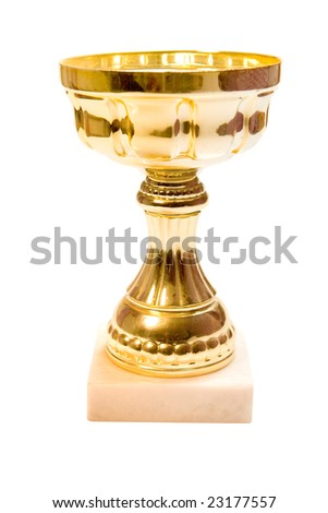 Golden cup on white ground - stock photo