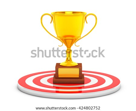 Golden Cup Trophy over Target Center on a white background. 3d Rendering - stock photo