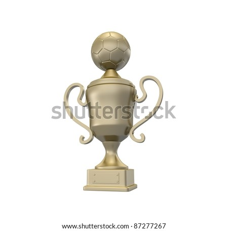 Golden cup with football ball on the top