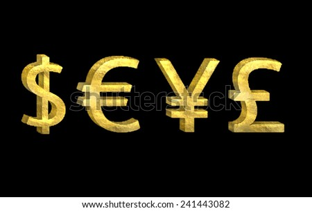 Golden currency symbol solated on black