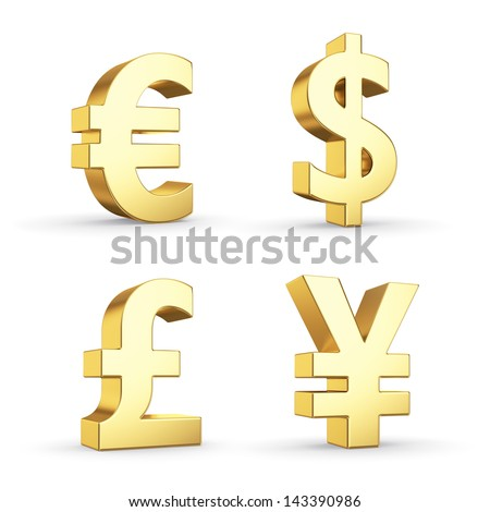 Golden currency symbols isolated on white with clipping path - stock photo