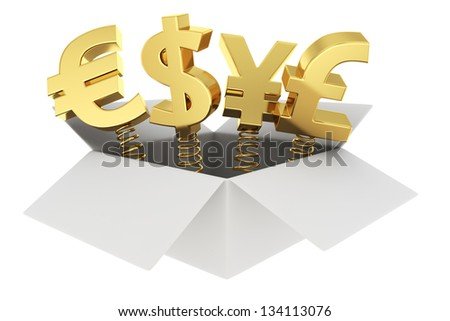 Golden currency symbols on springs in the gift box - stock photo