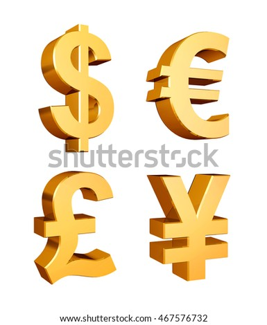 Golden currency symbols set on a white background - 3d illustration