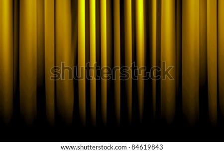 golden curtain fade to dark - stock photo