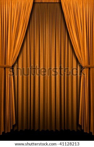 Golden curtain in vertical format - stock photo