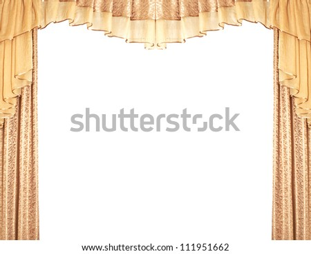 Golden curtains isolated in white - stock photo