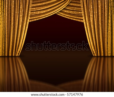 Golden curtains of open stage reflecting from dark floor