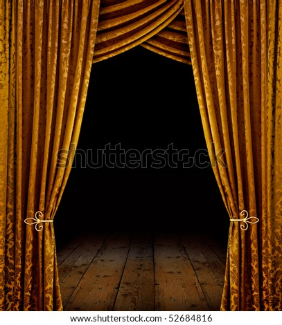 Golden curtains reveal open stage with wooden floor - stock photo