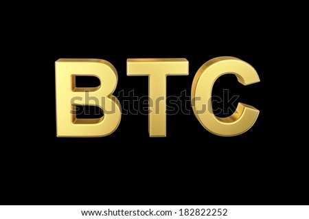 Golden 3D BTC currency shortcut isolated with clipping path - stock photo