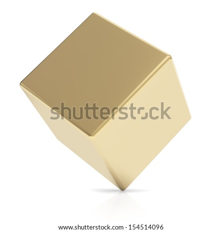 Golden 3d cube isolated with clipping path - stock photo