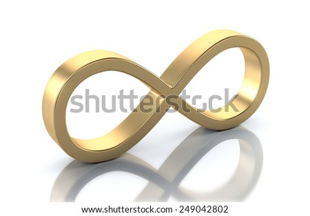 Golden 3d Infinity Symbol isolated on white - stock photo