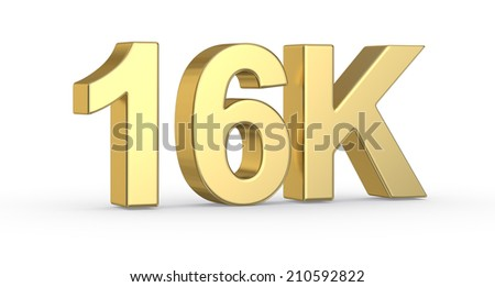 Golden 3D 16K  symbol isolated with clipping path