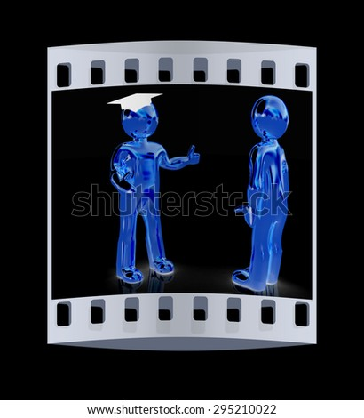 Golden 3D mans in a grad hat and a man on a black background. The film strip - stock photo