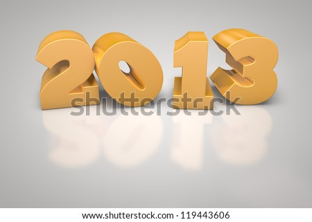 Golden 3D 2013 on white reflecting background - stock photo
