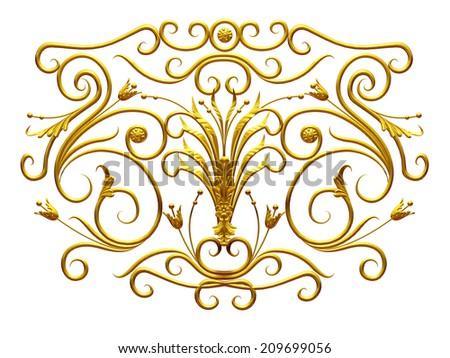 golden 3d Ornament - stock photo