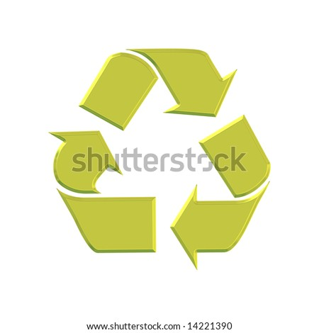 Golden 3d recycle symbol isolated over white background