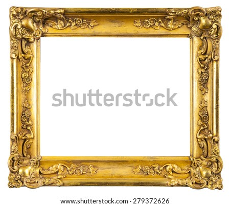golden decorative frame for painting isolated on white  - stock photo