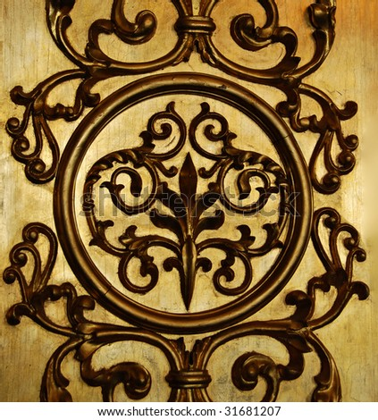 Golden decorative wall, antique ornament