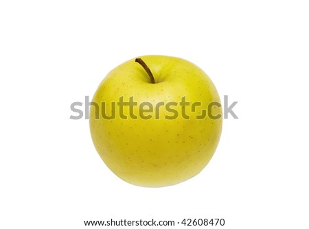 Golden Delicious apple isolated on white - stock photo