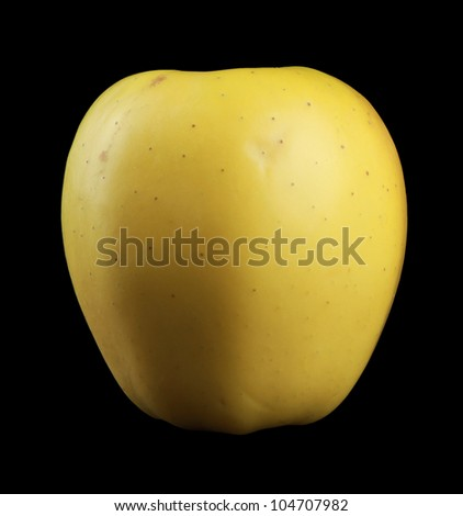 Golden Delicious isolated on black - stock photo