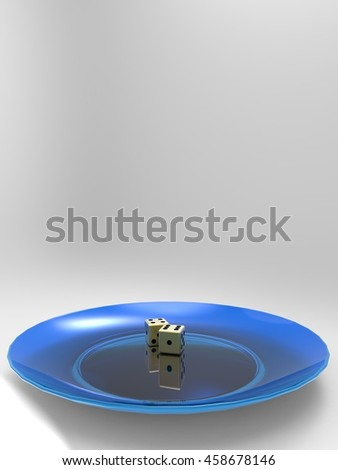 Golden dice on plate 3d illustration