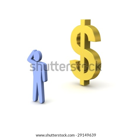 Golden dollar and thinking person. 3d rendered illustration.