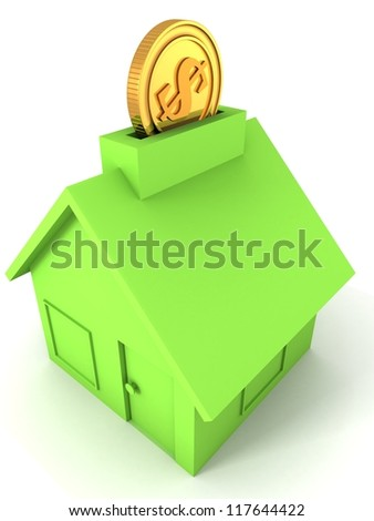 golden dollar coin into green moneybox house on white background
