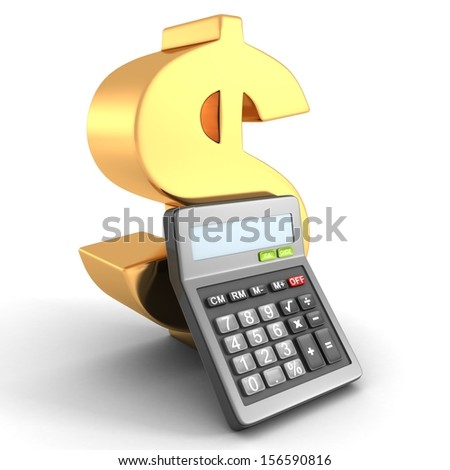 golden dollar financial symbol with office calculator - stock photo