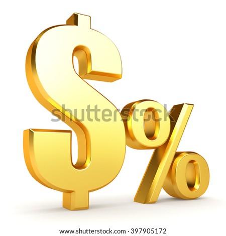 Golden Dollar percentage on white background. 3d rendering. - stock photo