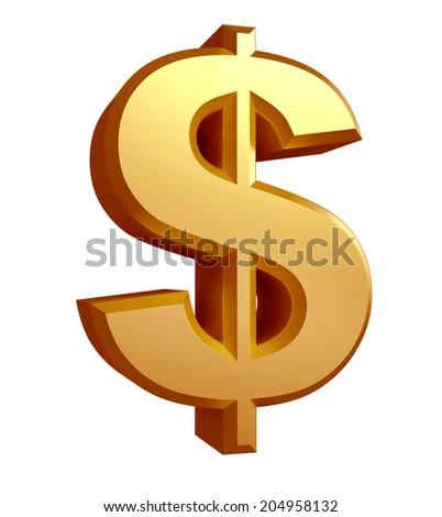 Golden Dollar sign - stock photo