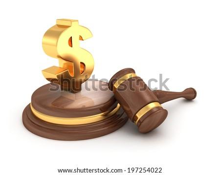 golden dollar sign and wooden gavel hammer on white background. business concept 3d render illustration - stock photo