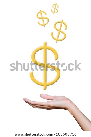Golden dollar sign in hand. - stock photo