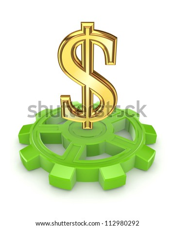 Golden dollar sign on green gear.Isolated on white background.3d rendered.