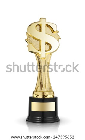 golden dollar sign trophy isolated on white - stock photo